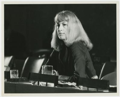 Karen Talbot representa o CMP no Comitê dos 24 da ONU pela descolonização - 1978