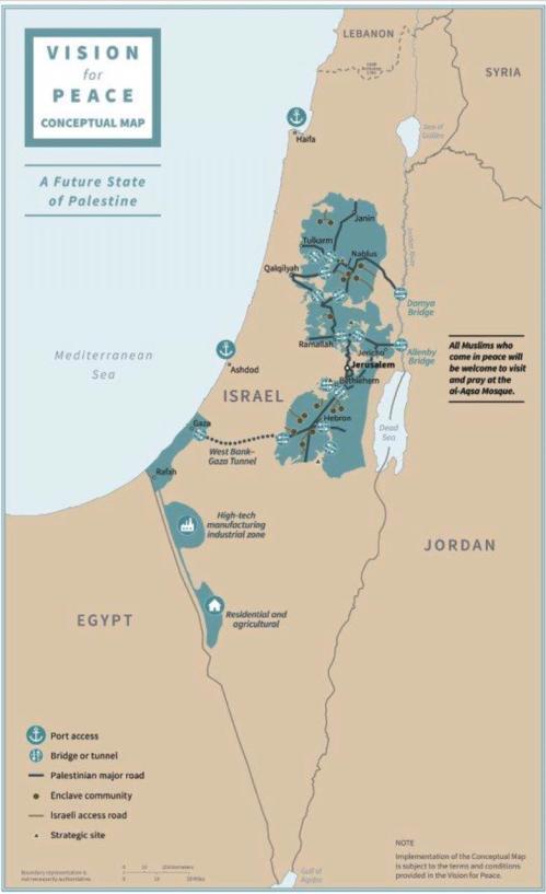 Mapa do plano de Trump Palestina