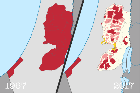 Mapa da Palestina ocupada: 1967 - 2017