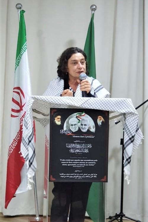 Socorro Gomes em ato de apoio ao povo iraniano em SP 5-01-2020