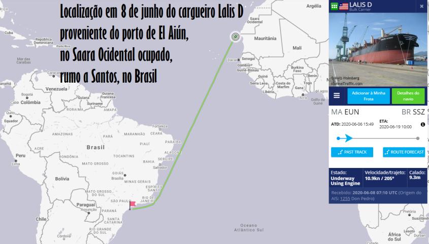 Lalis D cargueiro fosfato Saara Ocidental Marrocos Brasil junho 2020 Marine Traffic Cebrapaz